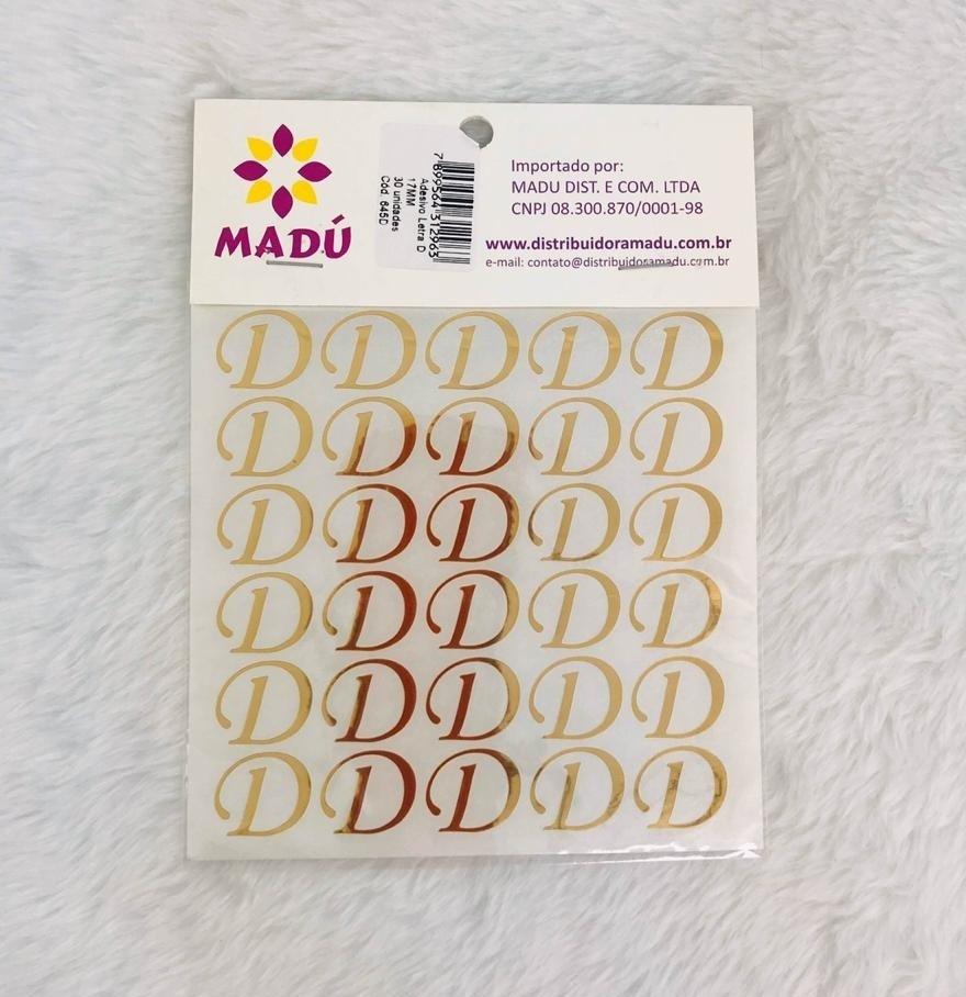 Letra D Adesiva em Cartela - Dourada