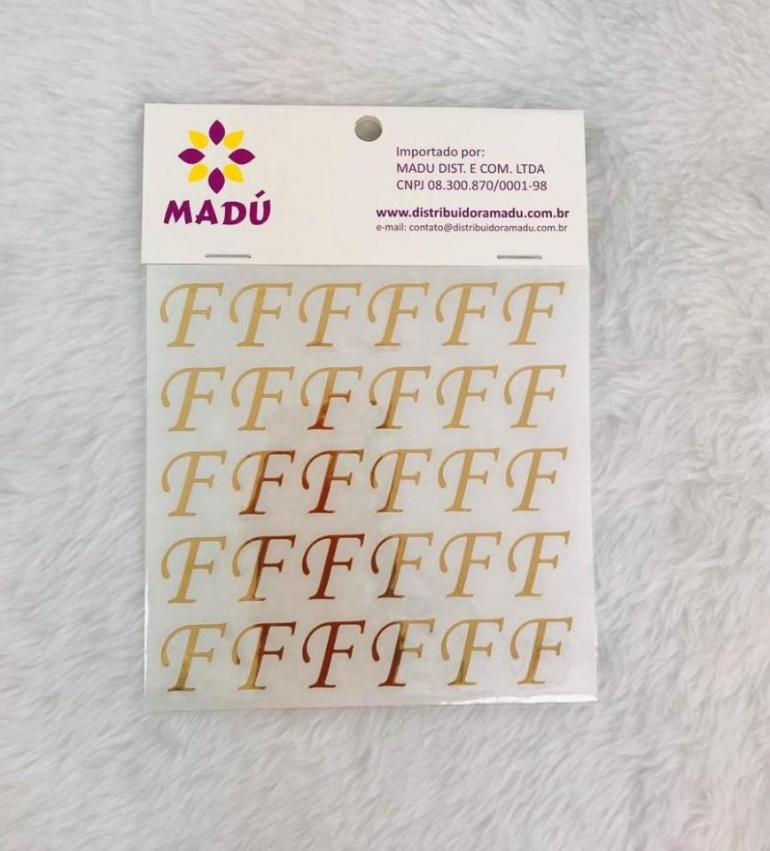 Letra F Adesiva em Cartela - Dourada