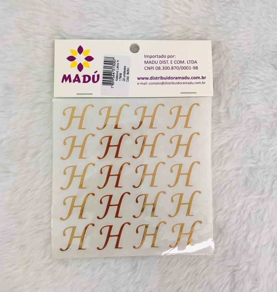 Letra H Adesiva em Cartela - Dourada