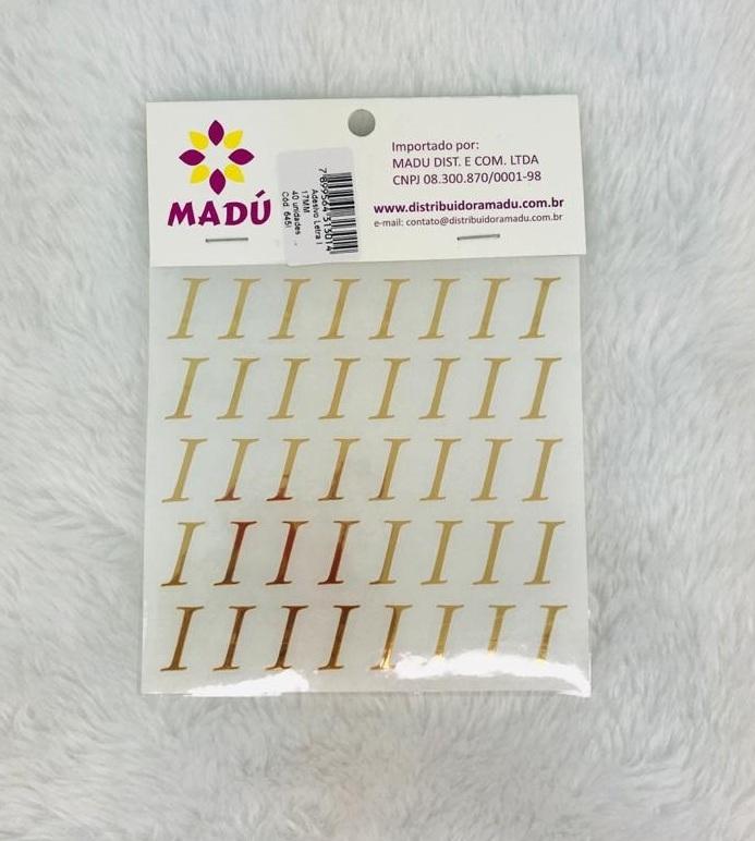 Letra I Adesiva em Cartela - Dourada