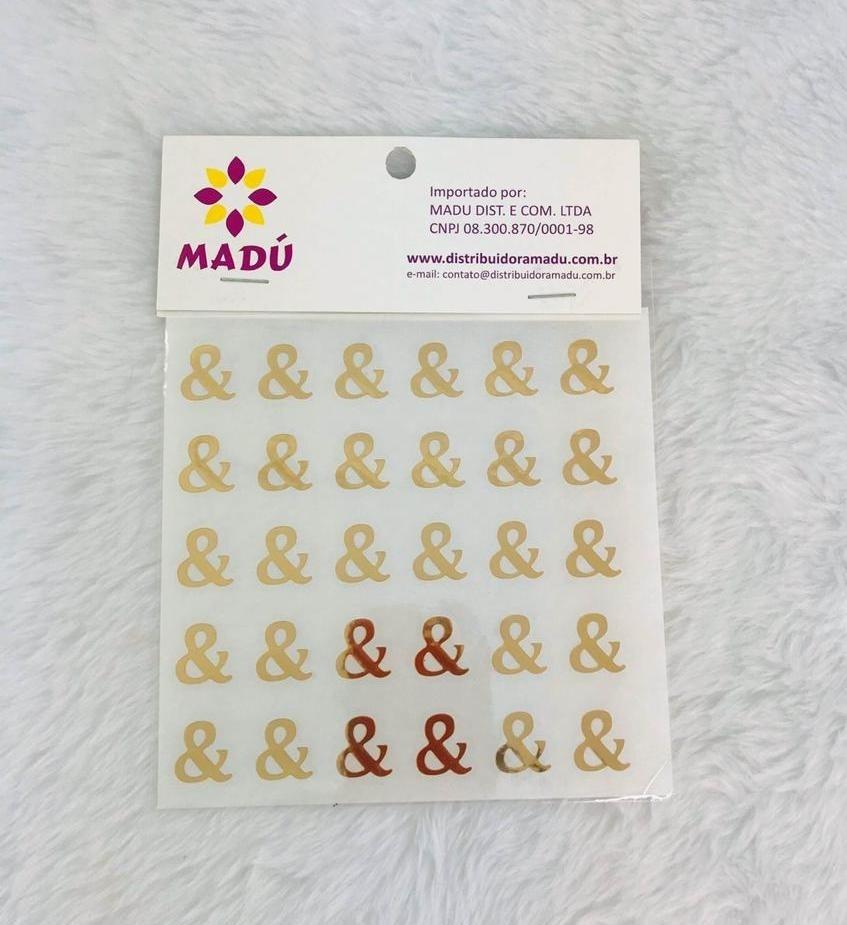 Letra E Comercial Adesiva em Cartela - Dourada