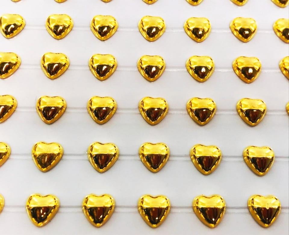 Coração Metalizado Adesivo em Cartela 8mm - Dourado