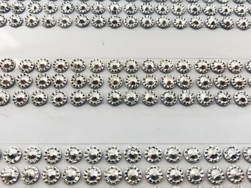 Diamante Adesivo em Cartela 6mm - Prata