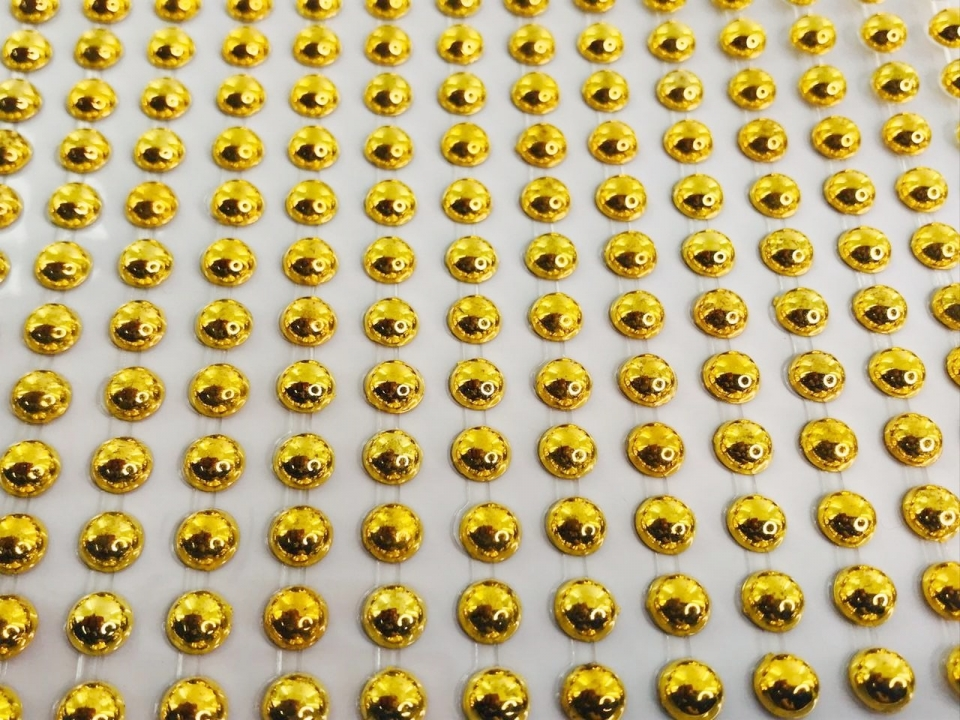 Meia Pérola Adesiva Dourada - 6 mm