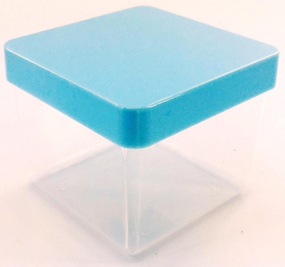Caixa Acrílica 5x5cm - Tampa Azul Bebê