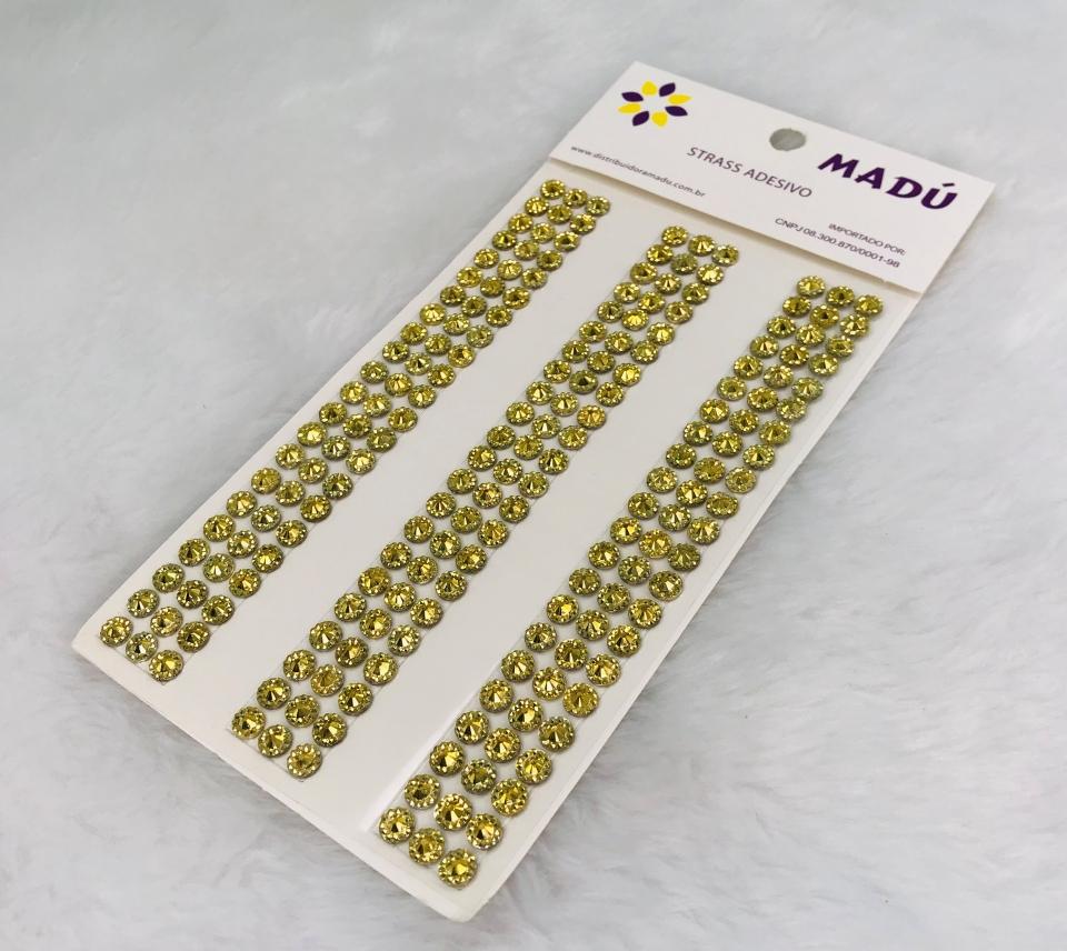 Diamante Adesivo em Cartela 6mm - Dourado