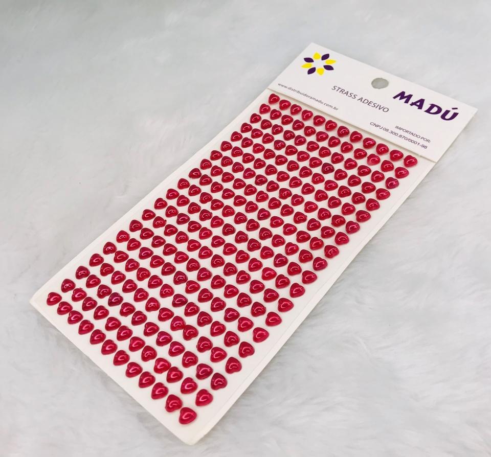 Coração Adesivo em Cartela 6mm - Vermelho