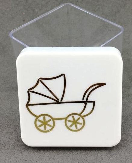 Caixinha Acrílica 4x4 cm - Tampa Branca C/ Carrinho Dourado