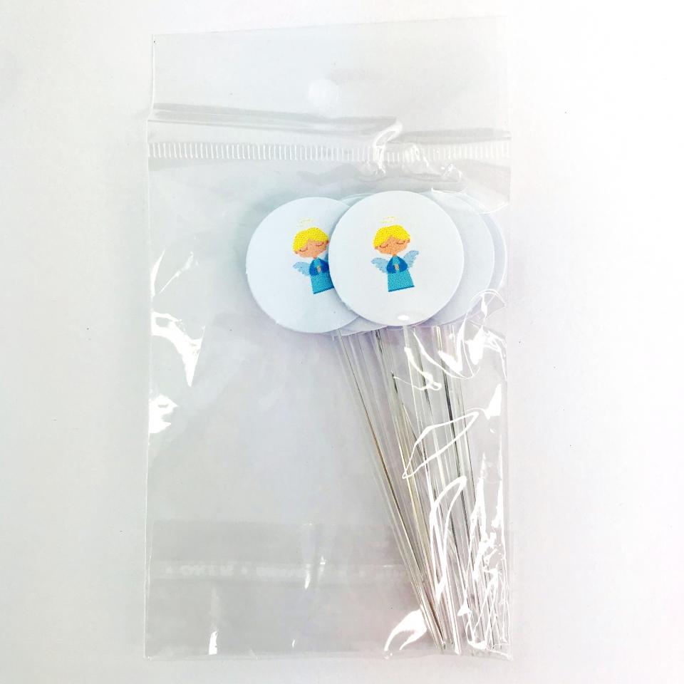 Mini Colher P/ Docinhos - Estampa Anjinho Rosa
