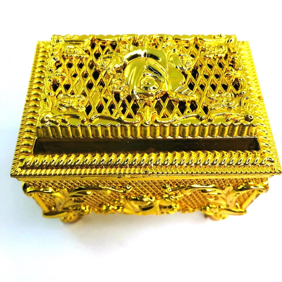 Caixinha Porta Joia Baú MOD 3 - Dourado