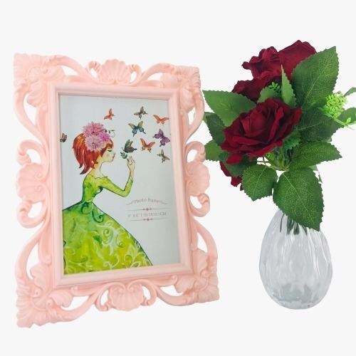 Porta Retrato Plástico Arabesco - Rosa