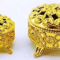 Caixinha Porta Jóia Redondo - Dourado