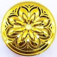 Caixa Metalizada Redondo Flor GD 9X3 CM - C/12 UND