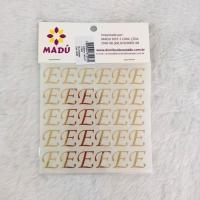 Letra E Adesiva em Cartela - Dourada