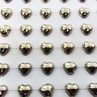 Coração Metalizado Adesivo em Cartela 8mm - Prata