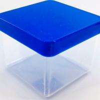 Caixa Acrílica 5x5cm - Tampa Azul Bic