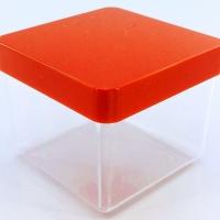 Caixa Acrílica 4x4 cm - Tampa Vermelha