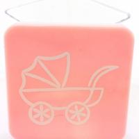 Caixinha Acrílica 4x4 cm - Tampa Rosa C/ Carrinho Branco